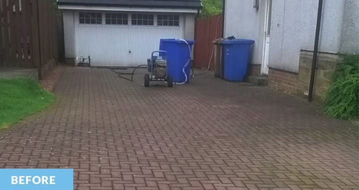 Lock block driveway before cleaning