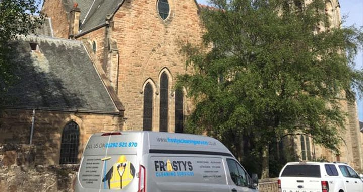 Frosty's Cleaning van parked outside of a church for high level cleaning